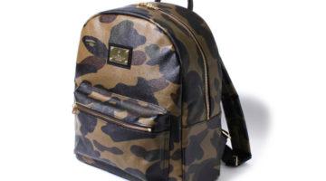 bape leather camo backpack