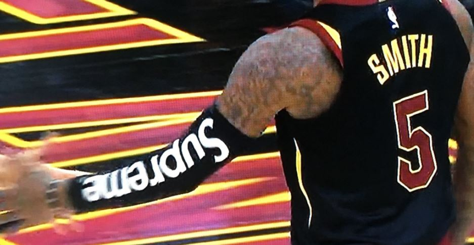 jr smith wears a supreme sleeve against the los angeles