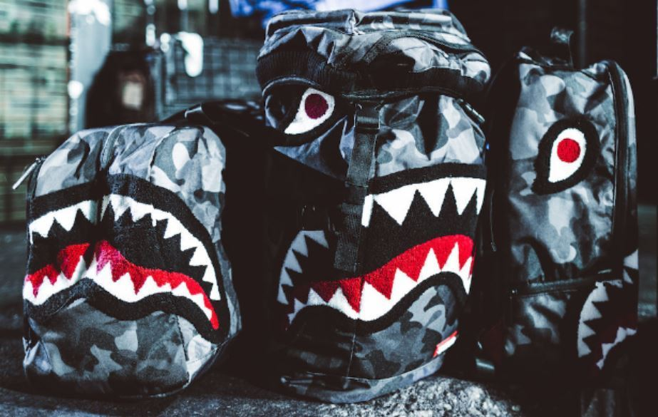 Sprayground X Beyond Hype Black Camo Shark Bag Collection