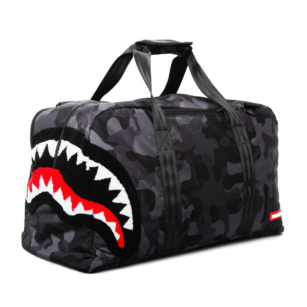 Gym Bag Spray: Sprayground X Beyond Hype Black Camo Shark Bag Collection