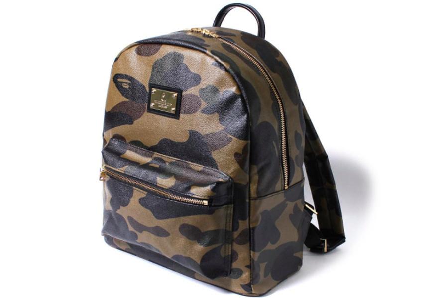 14689a649f3c bape leather camo backpack ...